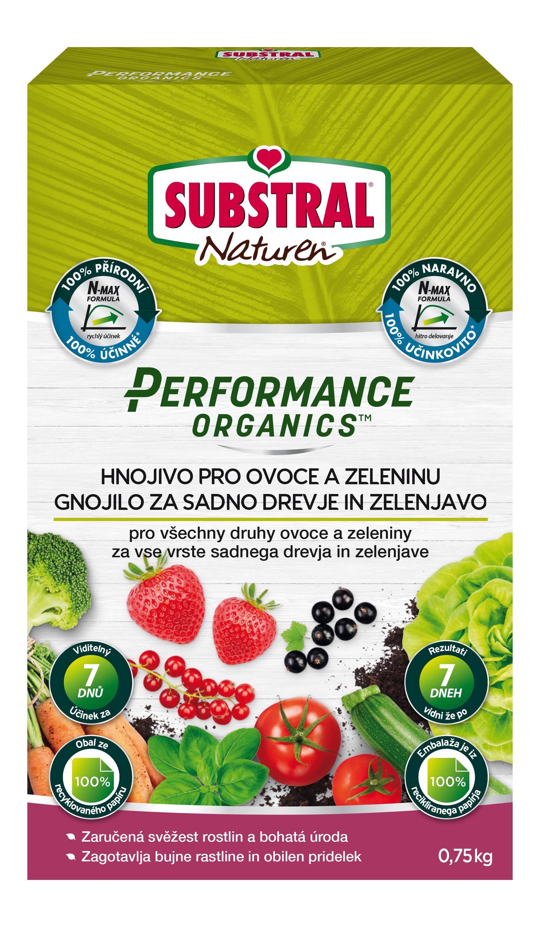 Substral Hnojivo granulované PERFORMANCE ORGANICS - OVOCE A ZELENINA 750g 1332103OR
